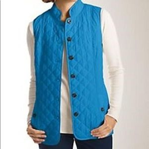 J.Jill | Blue Heritage Quilted Vest Button Down